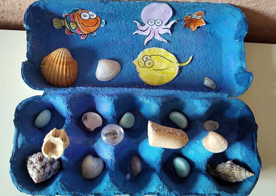 Tojástartóból tenger: egyszerű kreatív ötlet nyárra